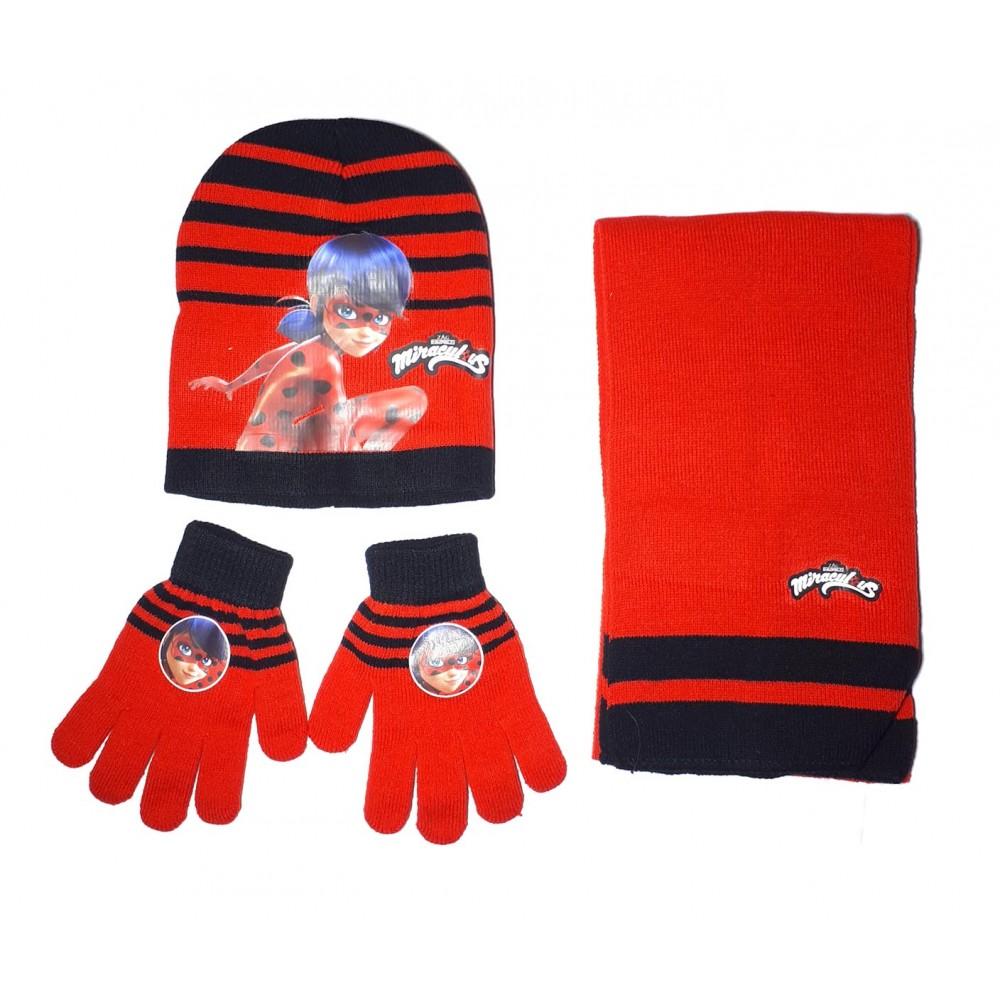 nouveau design livraison rapide styles classiques Miraculous Ladybug Ensemble écharpe, bonnet et gants fille - Rouge